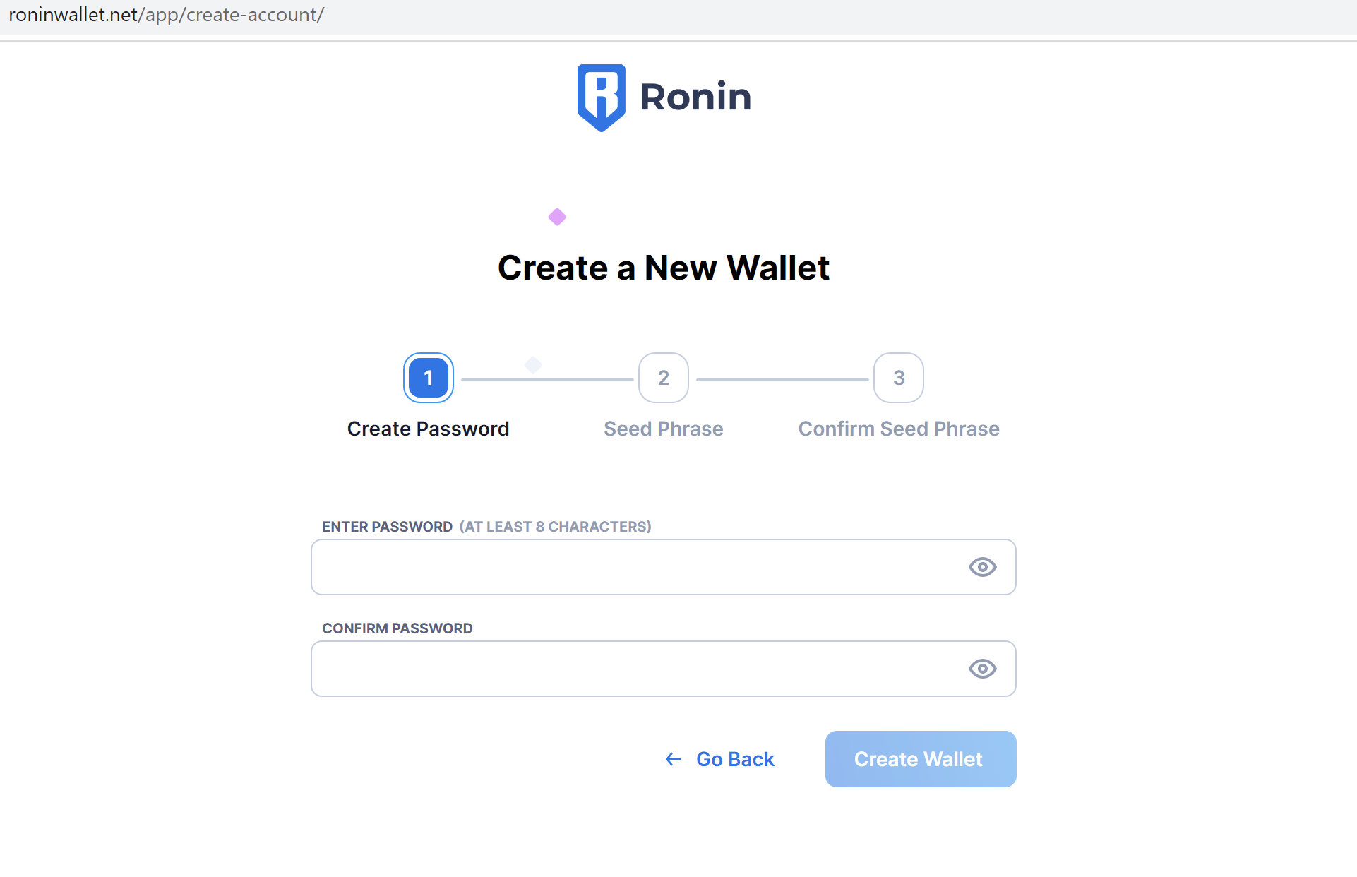 Fake Ronin Wallet create page