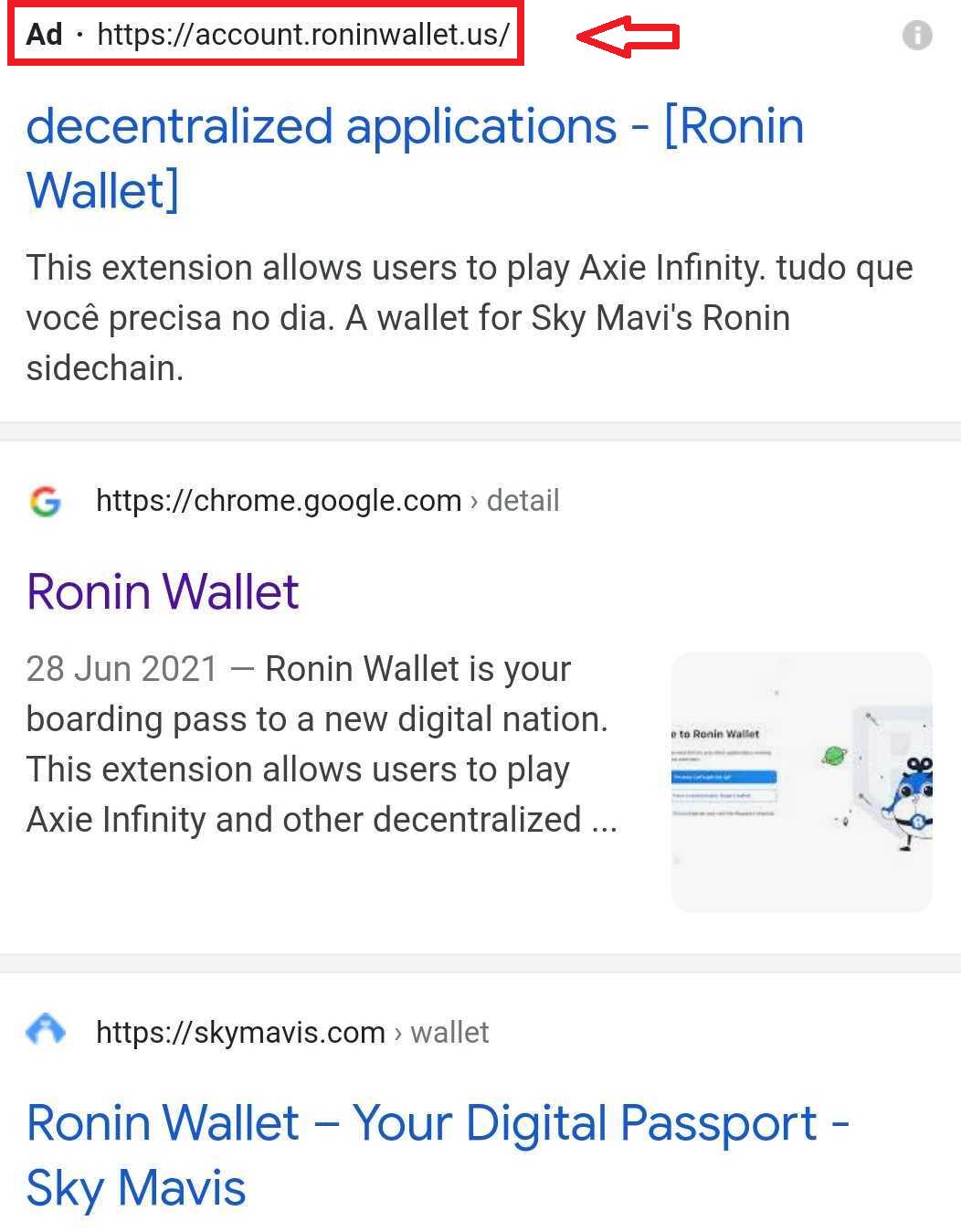 Ronin Wallet search