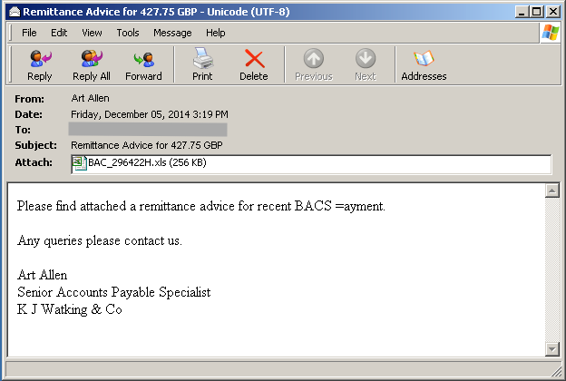 Fake BACS Remittance Emails Delivers Dridex Malware
