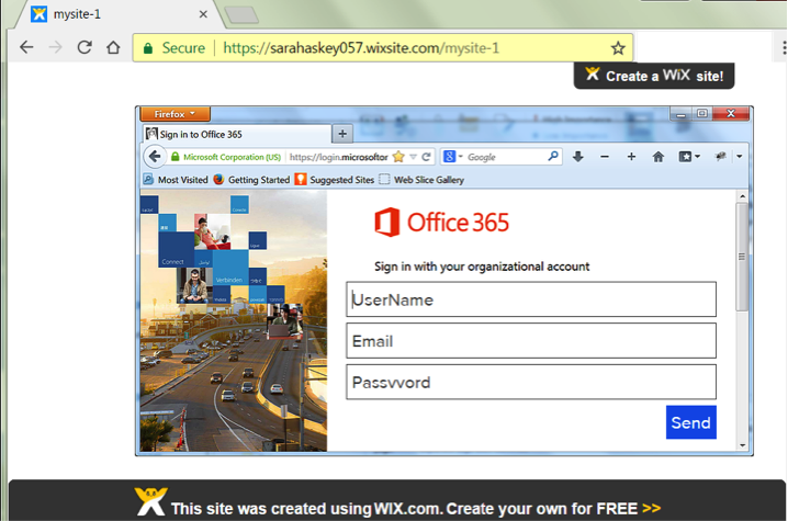 Wix phishing page for O365 users