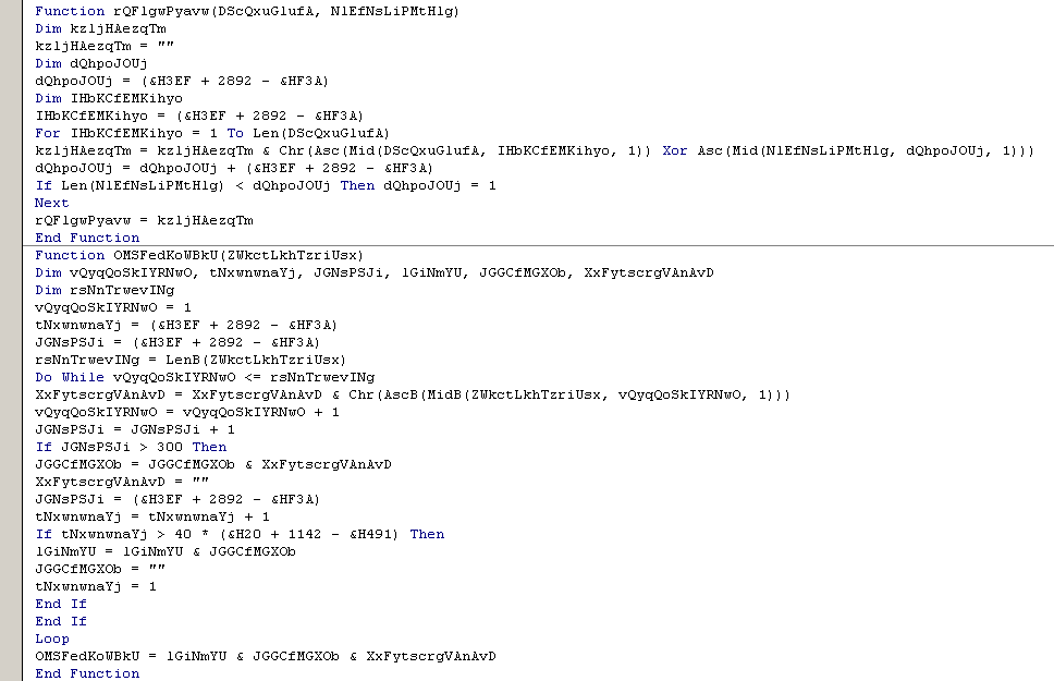 Decryption function of downloader macro