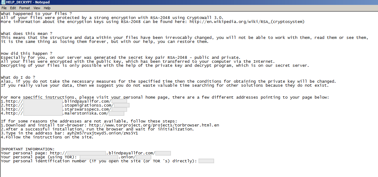 Malicious ransom note in plain text