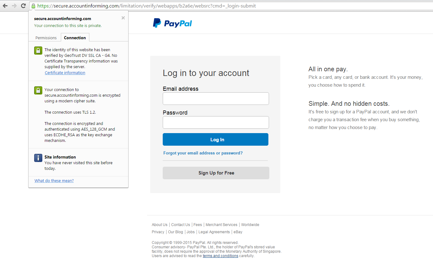 Domain Validation Dv Ssl Certificate Used For Paypal Phishing