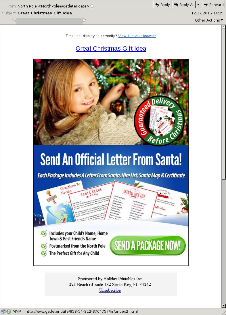 Letter from Santa 2015