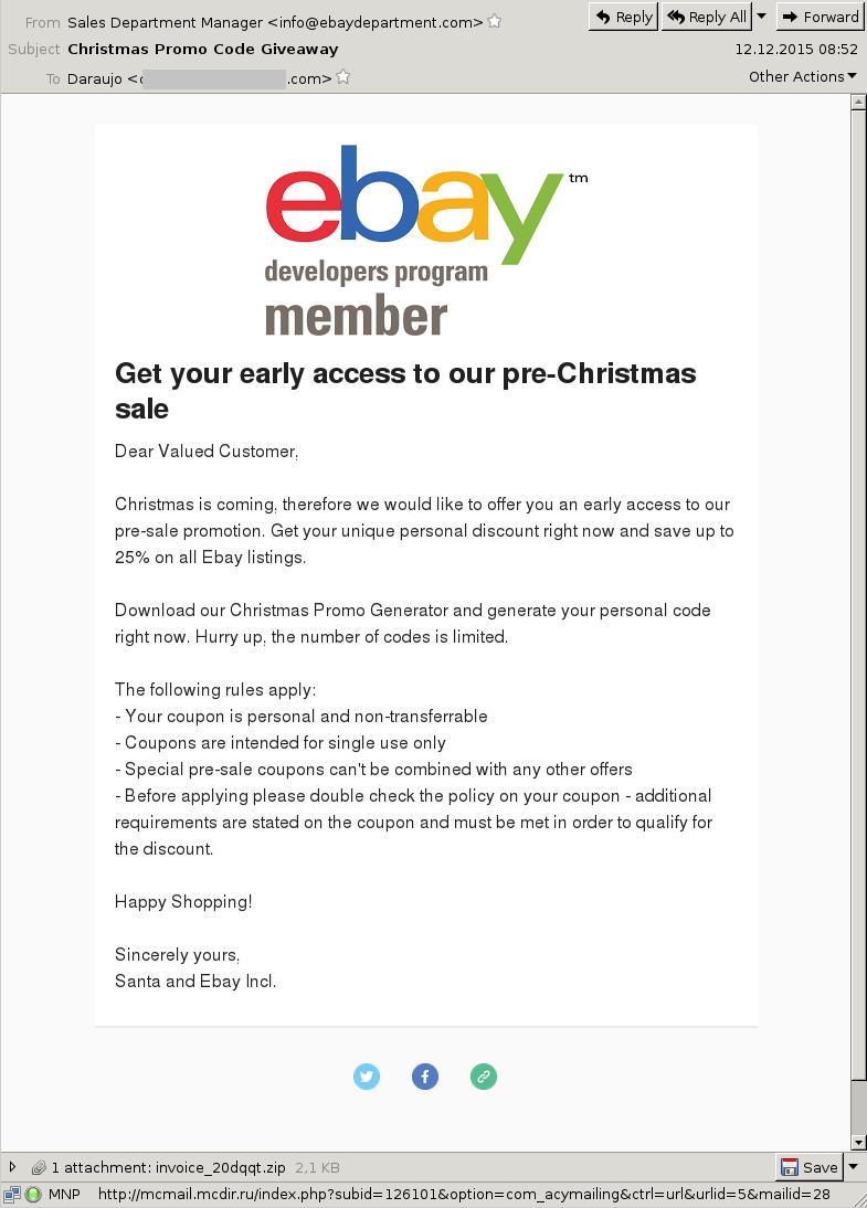 Malicious ebay Promo - Xmas 2015