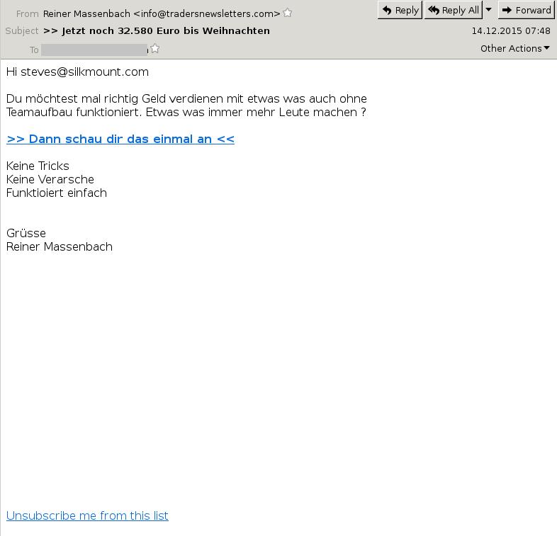 Job Offer Spam DE - Xmas 2015