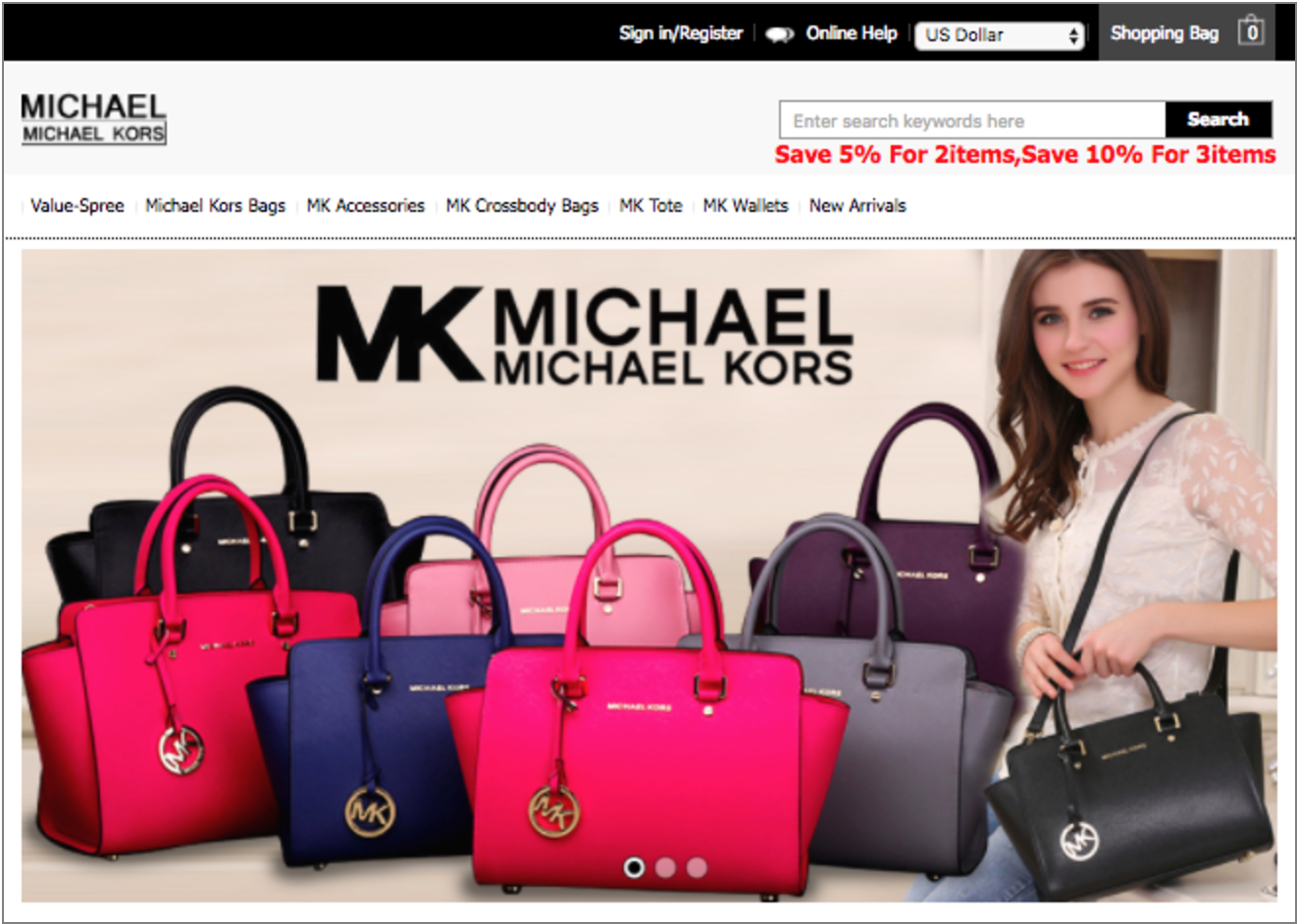 9d884edafe38 Fake Michael Kors shopping site ranks as the highest volume non-malware  attack of 2016