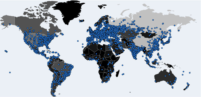 Global map of wannacrypt infections