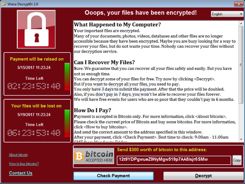 wannacrypt ransom demand screen