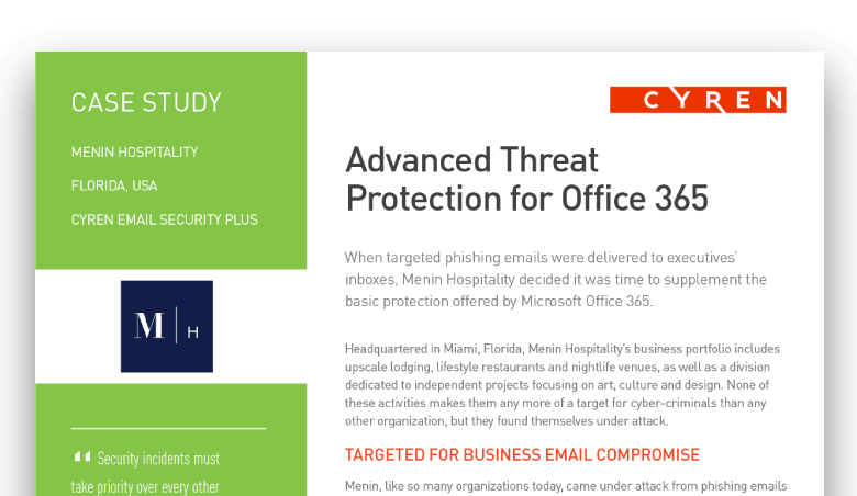 Enhanced Office 365 Email Security, 100% Cloud - Cyren